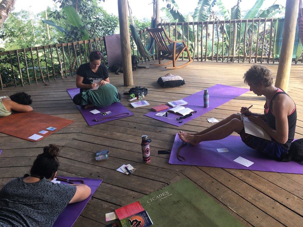 Journalling, discussion & introspection ~ this photo is from my 2018 Embodying Goddess Retreat