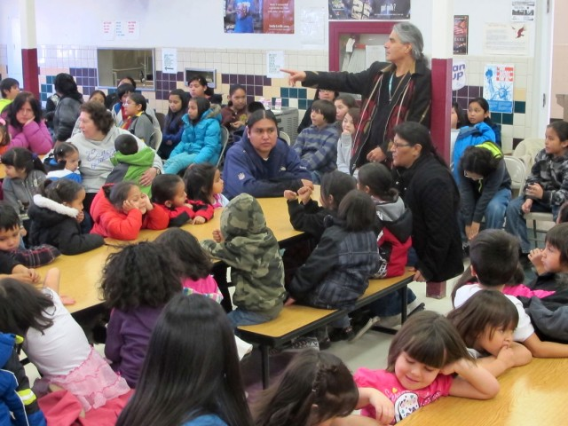 Robby Romero leads a discussion about protecting Mother Earth at the Taos Pueblo Day School. (t.s. last/ABQ Journal)