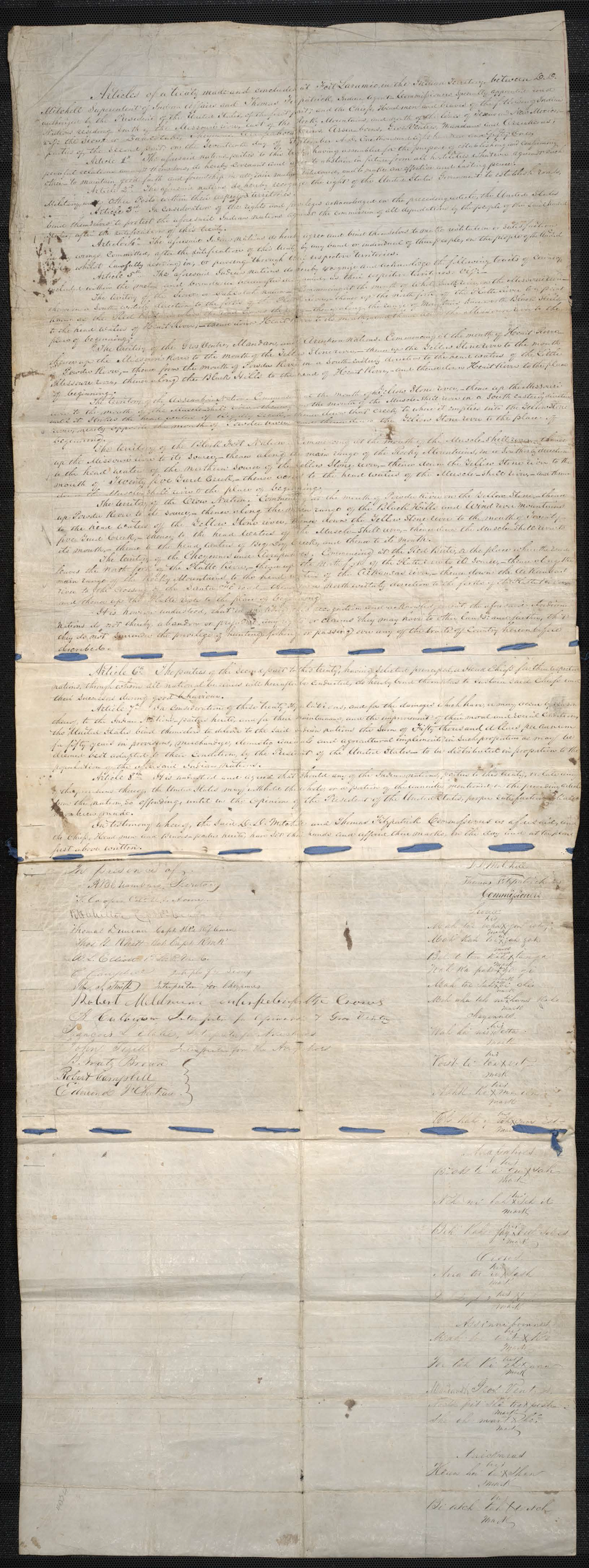 Fort Laramie Treaty of 1851 - U.S. National Archives   Records of the Bureau of Indian Affairs, 1793 - 1999
