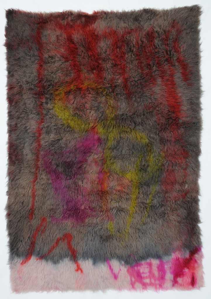 Emily Hill,  Under Case Studies,  wool rug, acid dye, hair spray, nail polish (2012)