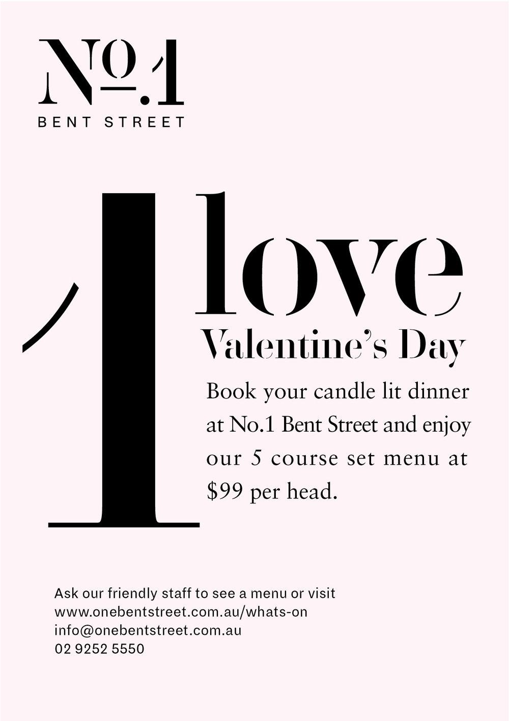 Valentines Day Menu Sydney CBD
