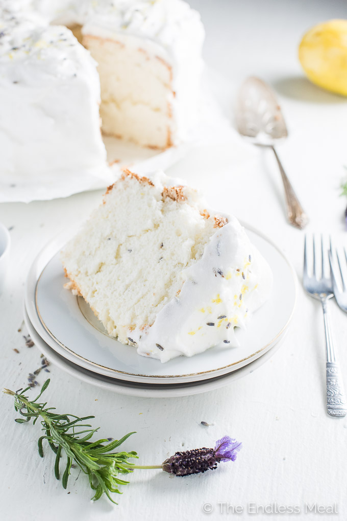 Lemon Lavender Angel Food Cake