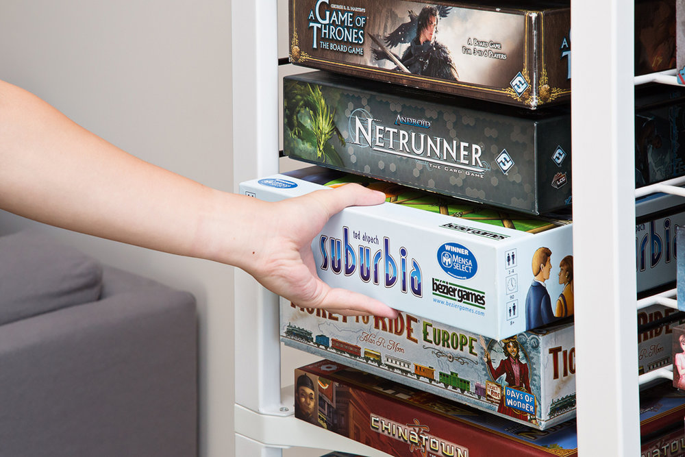 Every game deserves its own shelf - No more storing board games sideways.No more split boxes and jumbled pieces.No more landslides when sliding games from the bottom of a stack.One game, one shelf.