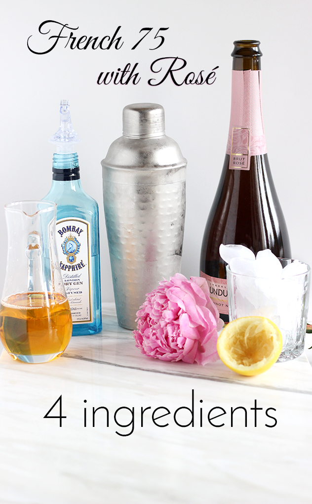 Easy Bubbly Cocktail Recipe - French 75 with Rosé