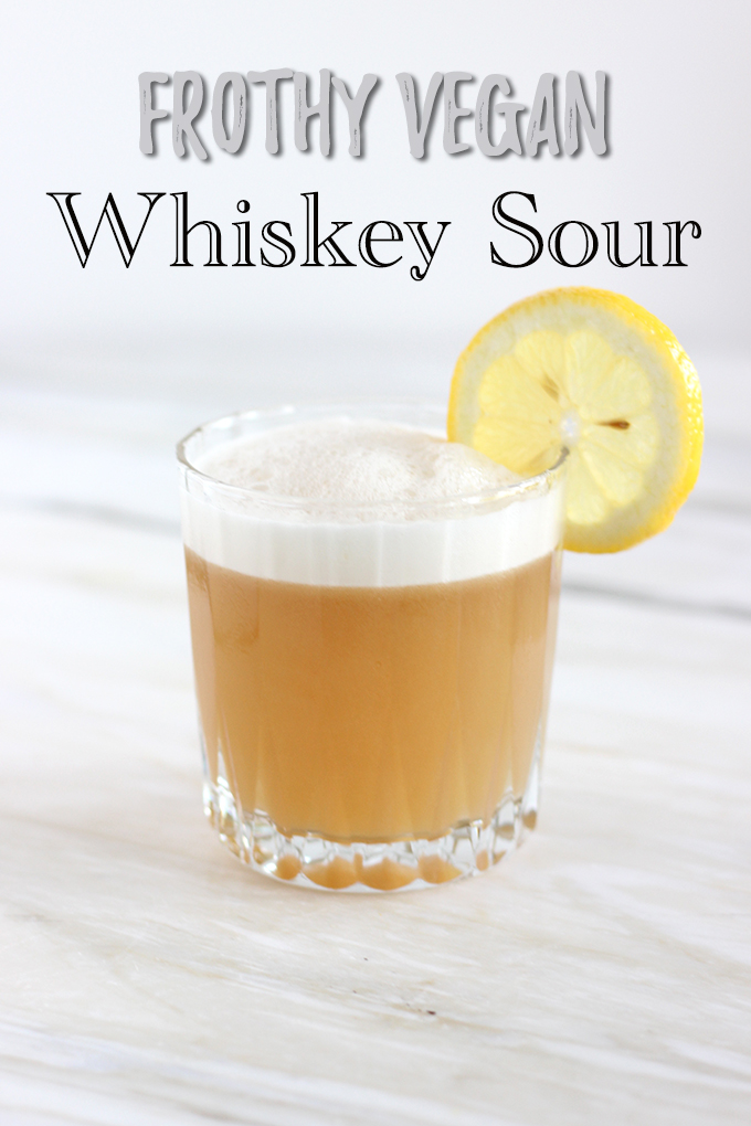 Frothy + VEGAN Whiskey Sour. A classic drink that is DELICIOUS and only requires 4 ingredients to Make #cocktail #vegan #whiskey
