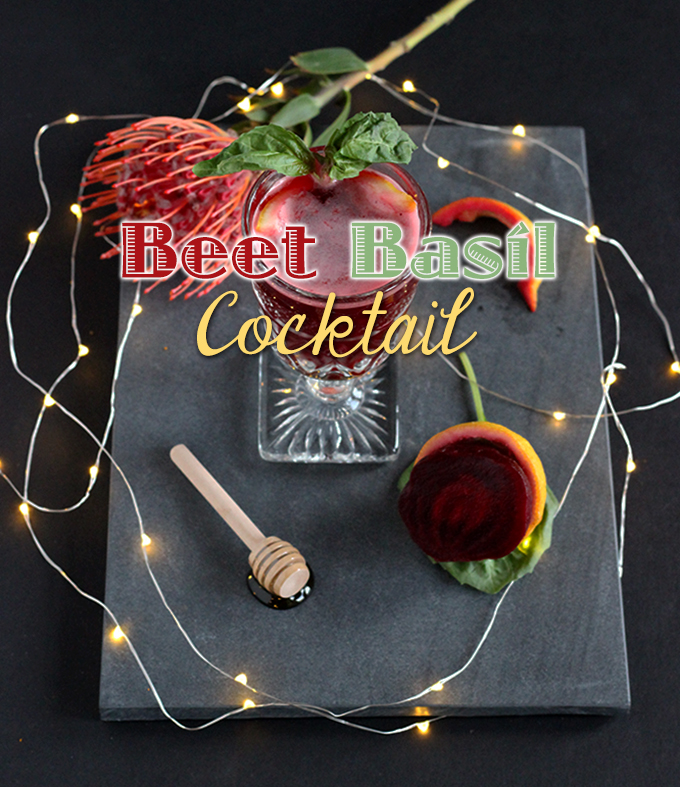 Sweet Beet Basil Cocktail Only is the perfect healthier cocktail for your next brunch! Loaded with nutrients with a splash of vodka. #5ingredients #healthycocktail #beet #vodka