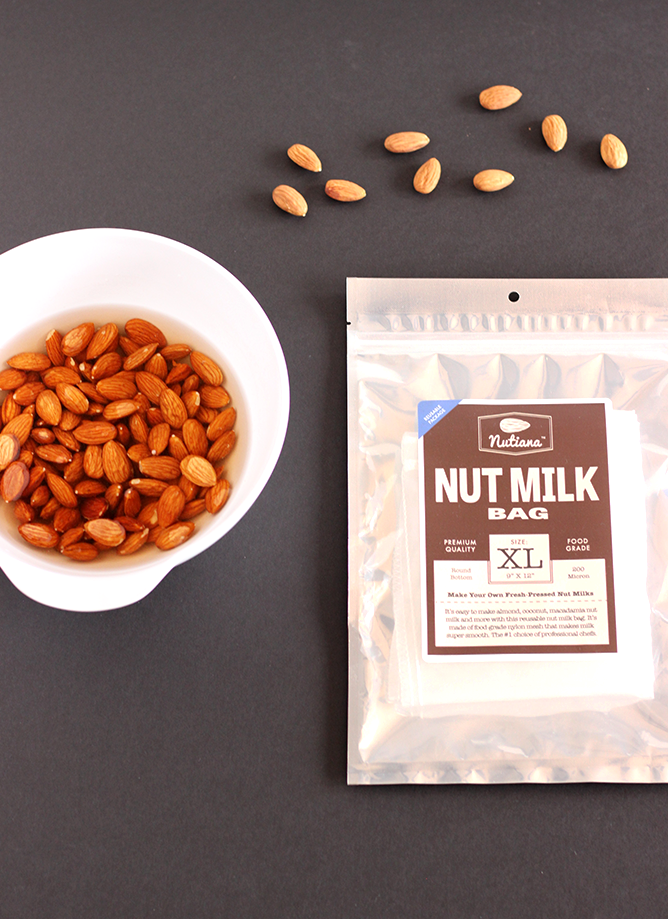 Soaked Almonds and Nut Bag for Sweetly Spiced Homemade Almond Milk
