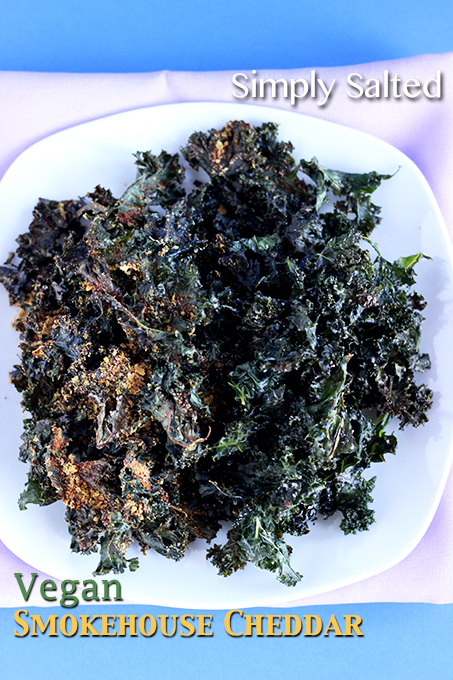 Kale Chips - Simply Salted or Vegan Smokehouse Cheddar. 3 Ingredients for Kale Chips and 5 for smokehouse cheddar seasoning! | The Cheers Years