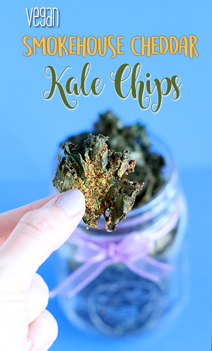 Vegan Smokehouse Cheddar Kale Chips are only 3 ingredients for chips and 5-ingredient smokehouse cheddar seasoning | The Cheers Years