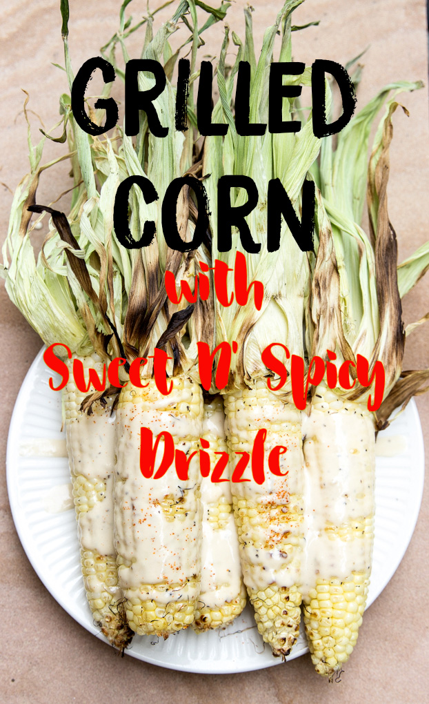 Kick your same old grilled corn for cookouts up a notch with this sweet n' spicy cayenne-tahini drizzle! #grilledcornrecipe | CheersYears.com
