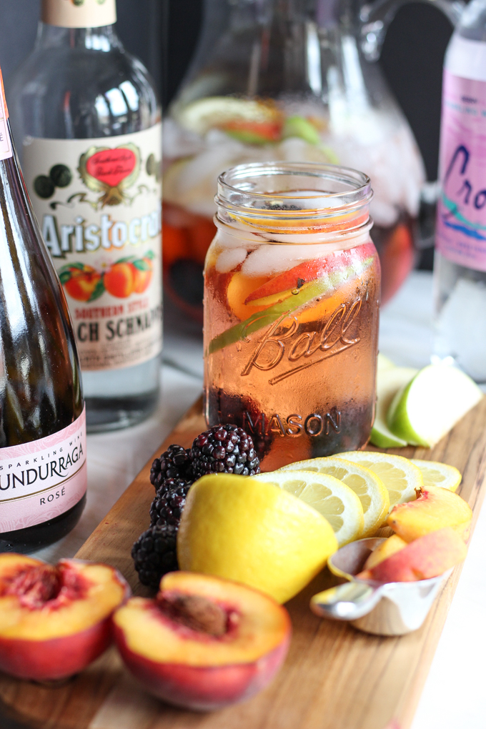 This Blackberry Peach Rose Sangria Recipe is SO EASY to make! | CheersYears.com #easysangriarecipe #sangria #rosesangria.jpg