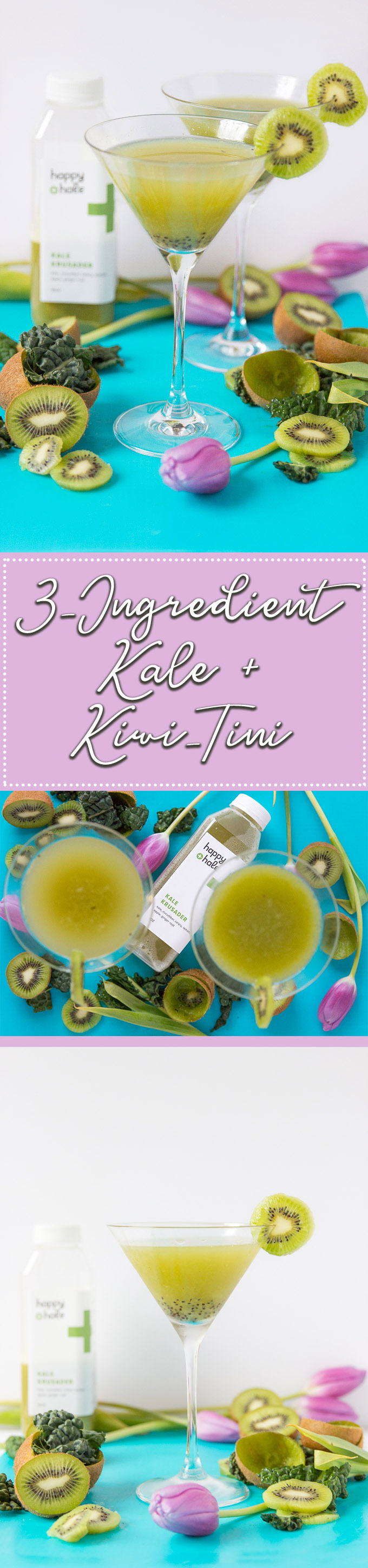 3-ingredient Kale + Kiwi-Tini is a healthier cocktail - recipe from Cheers Years #kalecocktail #healthycocktail
