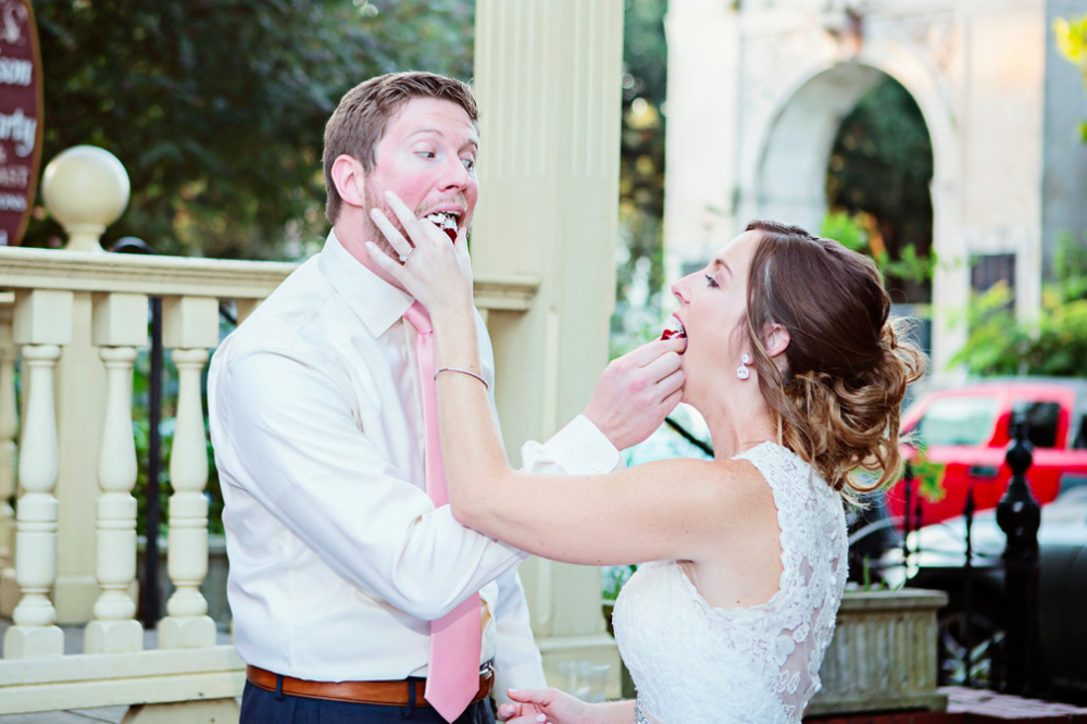 I use this as a barometer of the couple; do they politely use forks, delicately feed each other, select an appropriate bite size piece, or are they a mouthful, handful cake in the face, couple? It's a mystery until this time during the day, and I look forward to it at each wedding! Captured By:  Becky Cooper Photography