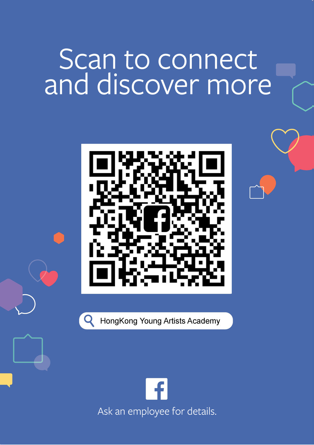 QR Code forFacebook Page created! - You can scan this QR code for entering to our Facebook page.Please like and follow us! You will always be updated on our news and events in details!Can't scan the QR code?Click here: https://www.facebook.com/hongkongyaa