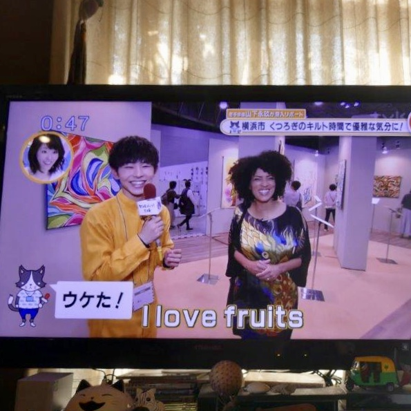 "My interpreter's husband was kind enough to take a few shots from his TV! I'm still trying to figure out the context of ""I love fruits""… lol"