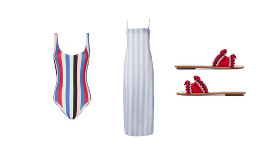 THE SECOND OUTFIT ESSENTIALS:  (Similar)  Solid & Striped One Piece ,  Mara Hoffman Maxi Dress ,  Loeffler Randall Rick Rack Slides