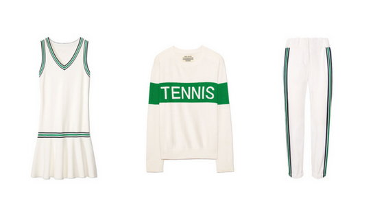TORY SPORT SPRING GREENS:    Tory Sport Knit Tennis Dress ,  Tory Sport Performance Cashmere Sweater ,  Tory Sport Baseball Pants