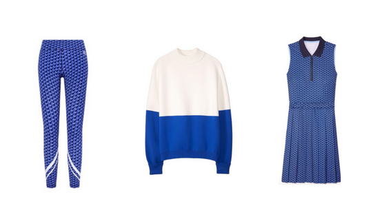 TORY SPORT BLUES CLUB:   Tory Sport Chevron Leggings ,  Tory Sport Color Block Sweater ,  Tory Sport Pleated Golf Dress