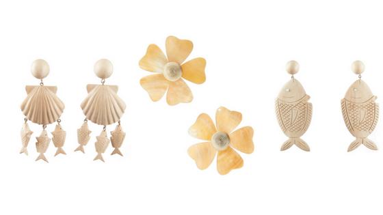 ISLAND INSPIRED:   Rebecca de Ravenel Delphine Earrings , Rebecca de Ravenel Mother-of-Pearl Flower Earrings ,  Rebecca de Ravenel Fish Drop Earrings