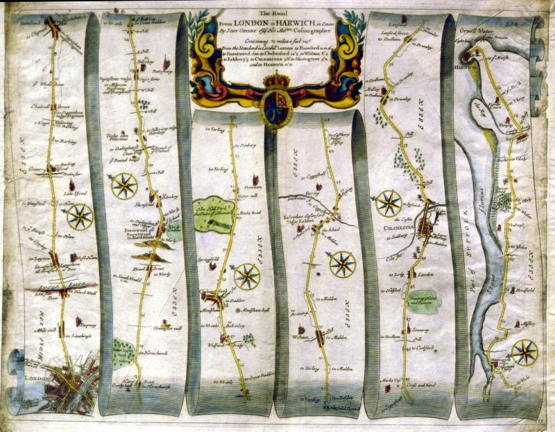 Road Map of London to Harwich published in 1675 by John Ogilby  John Ogilby [Public domain], via Wikimedia Commons