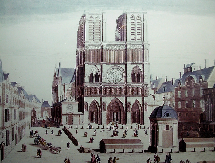 West facade of Notre-Dame de Paris, before the destruction of the fountain in the foreground in 1748. Anonymous 17th-century print. AnonymousUnknown author [Public domain] via Wikimedia Commons