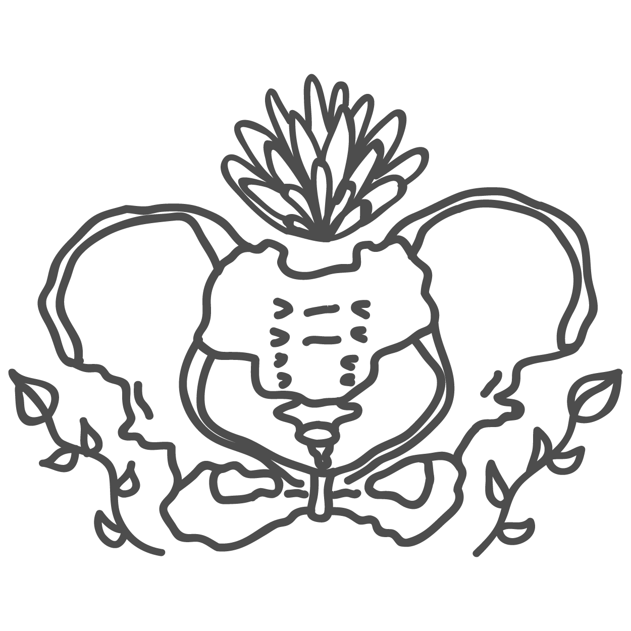 richmond doula project logo: illustration of hip bones and flower