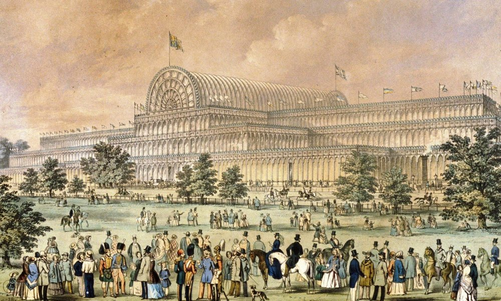 "Crowds outside the Crystal Palace in Hyde Park, London, 1851.    Designed by: Sir Joseph Paxton for ""The Great Exhibition of 1851"", drawing and lithograph by Augustus Butler."