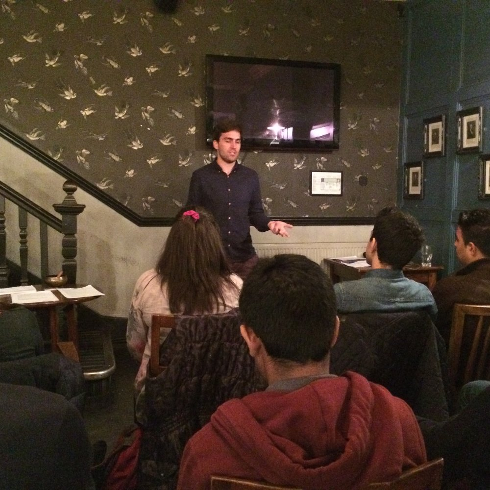 Sam delivering a workshop in London 2015