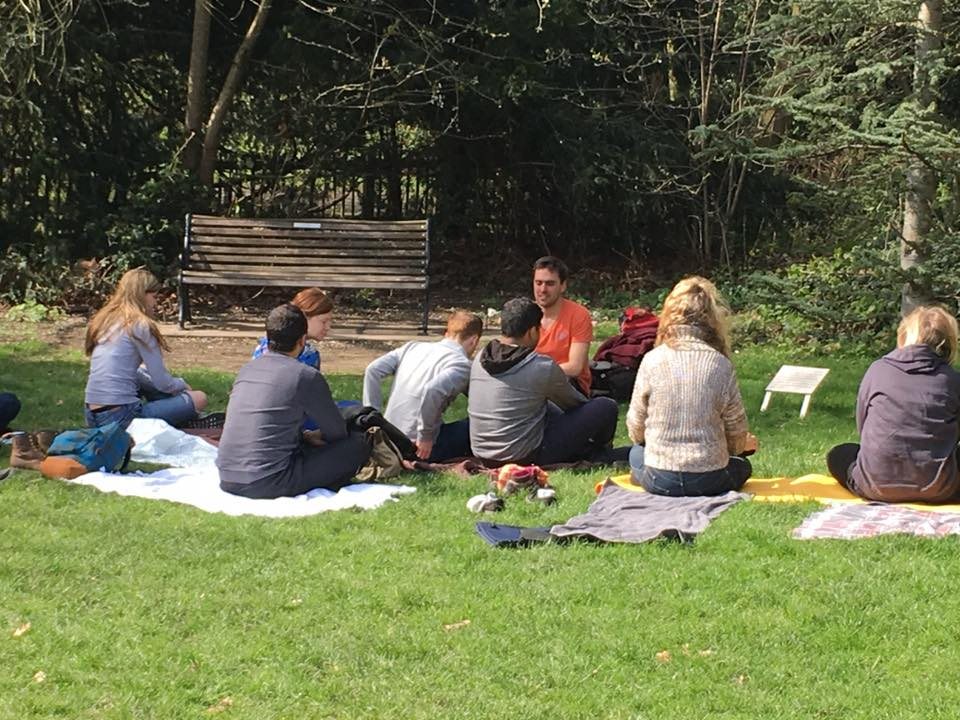 Sam Leading a Meditation Class in 2016