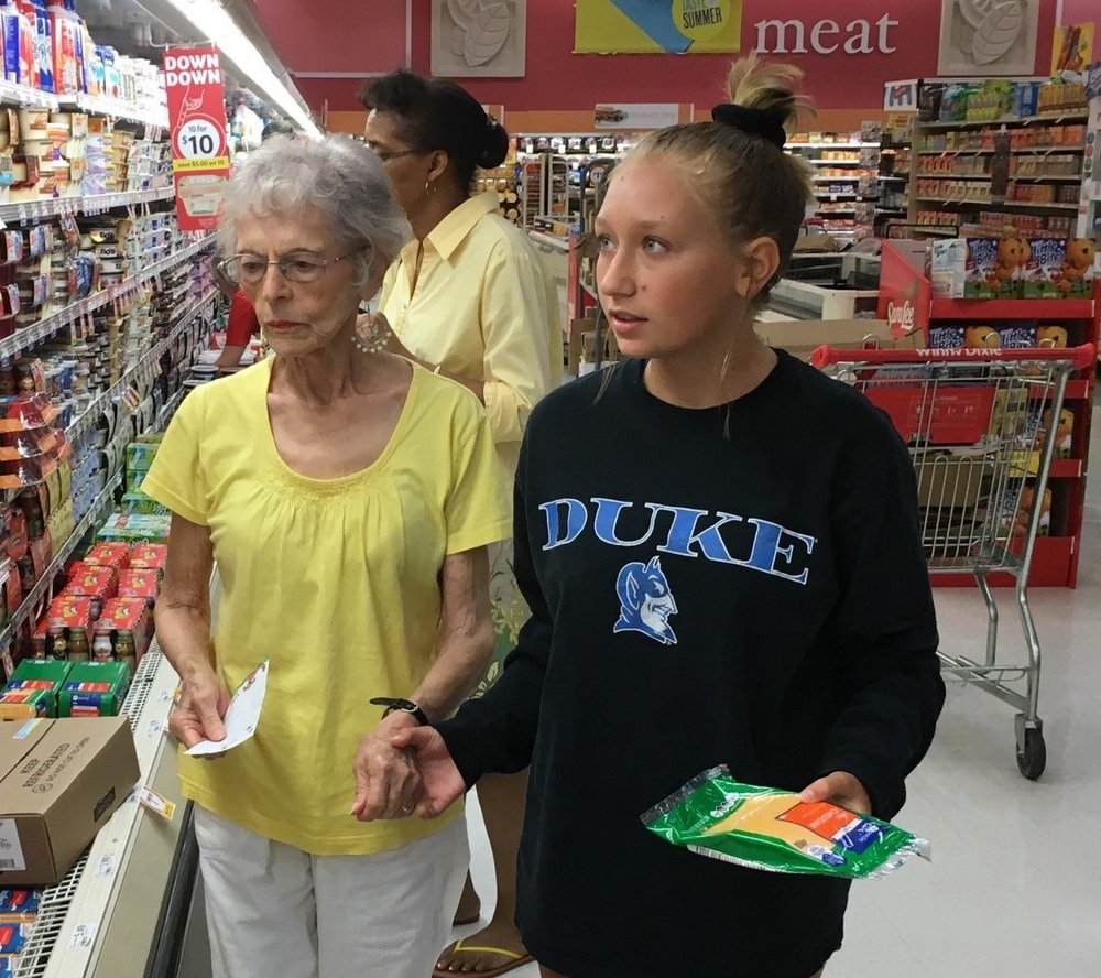 Sometimes kindness is as simple as helping your grandmother take your great-grandmother grocery shopping.