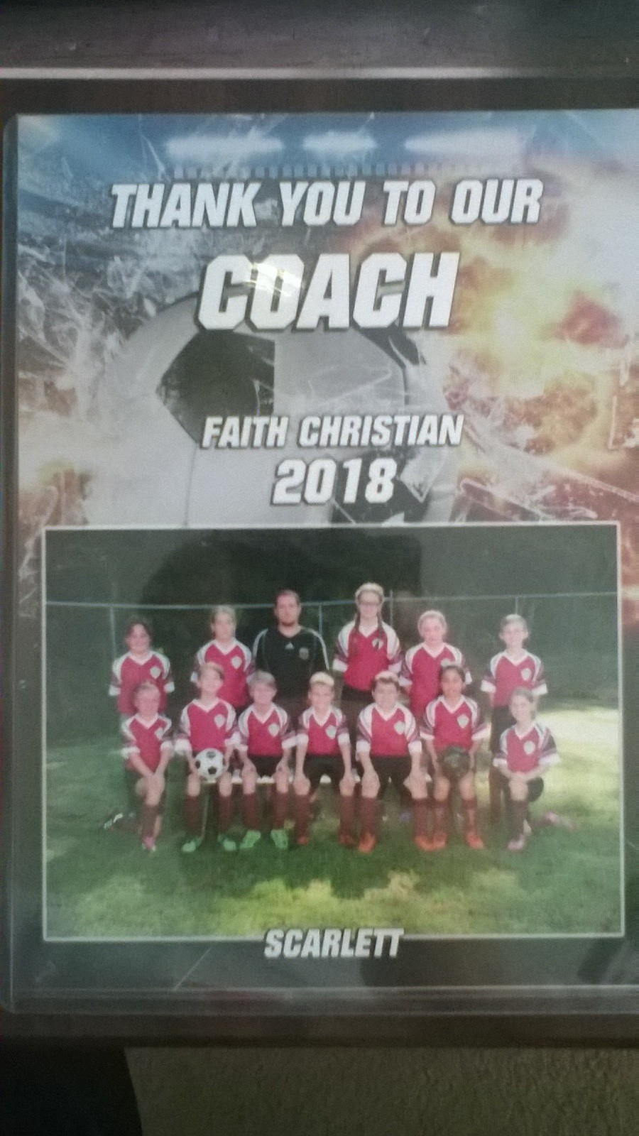 A gift I received after coaching my younger daughter's soccer team this fall.