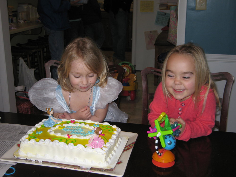 My older daughter and my first niece, both very excited about this birthday cake!