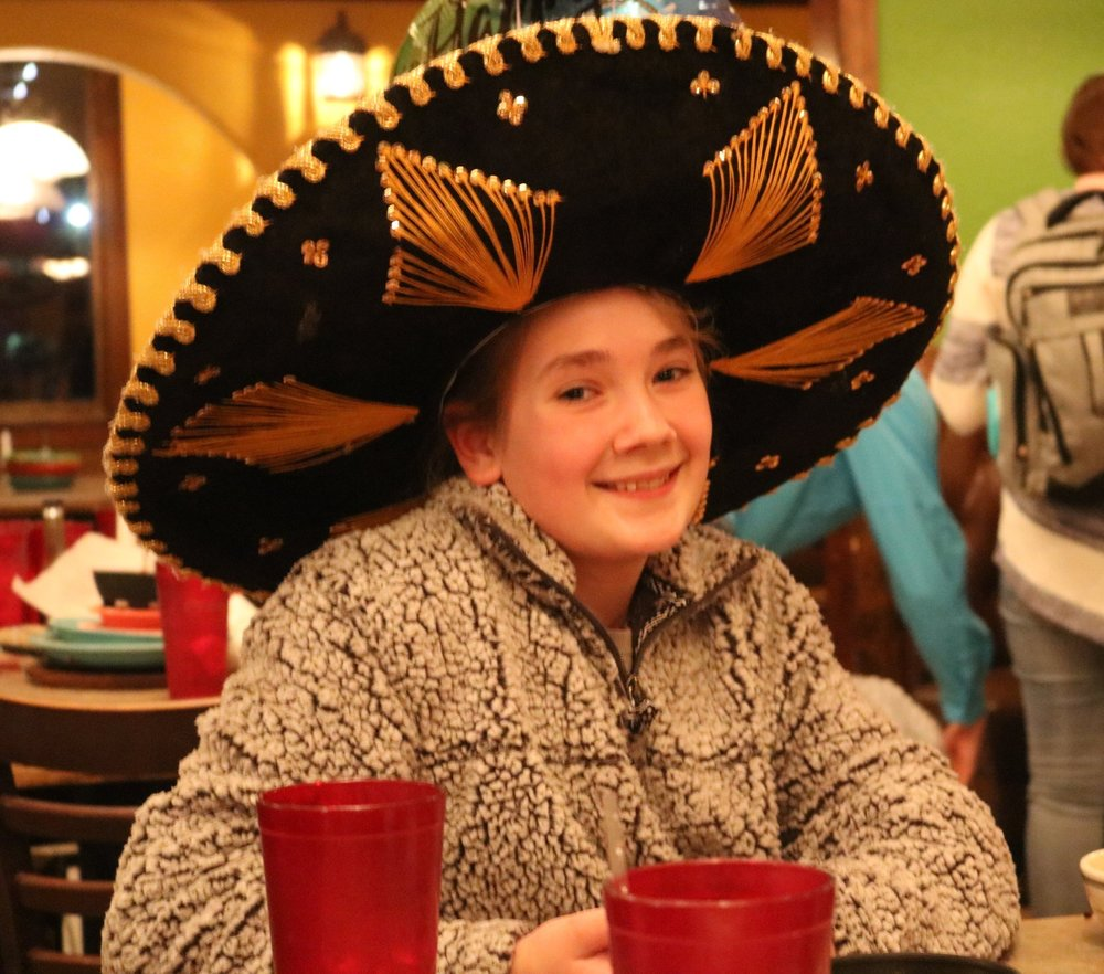 The birthday Lou at a local Mexican restaurant, celebrating in style!