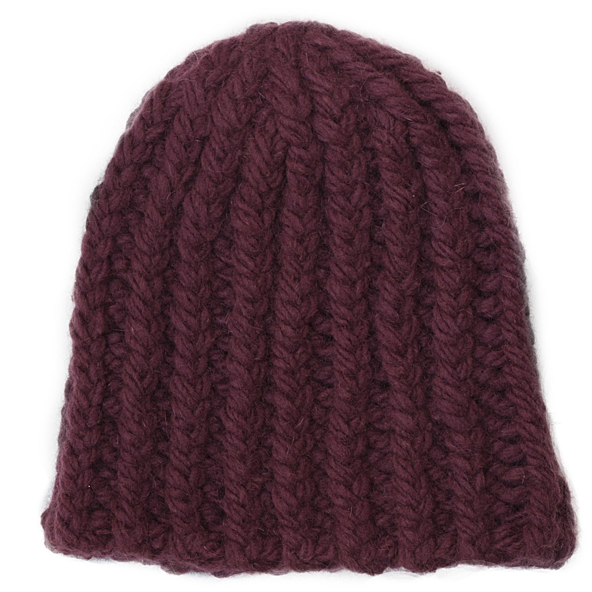592ebbd0024 Chunky Twisted Ribbed Beanie Hat - Garnet — Josh Bennett NYC