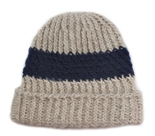2ef6aff29e1 Twisted Ribbed Hat with Slanting Ribbed Stripe - Natural Navy — Josh ...