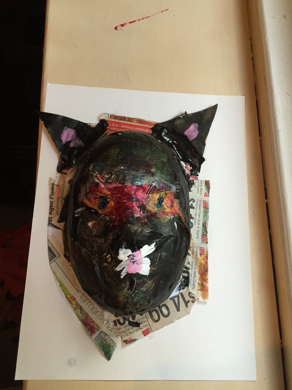 Paper mache mask from art tour and workshop