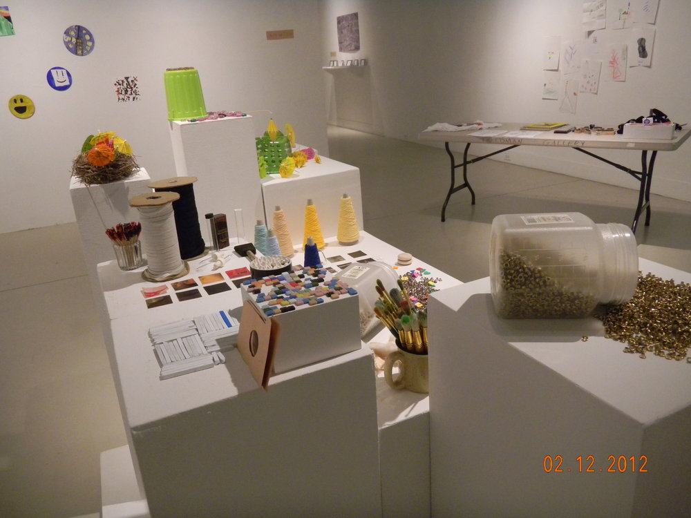 Iinstallation kids art in gallery from juried exhibition