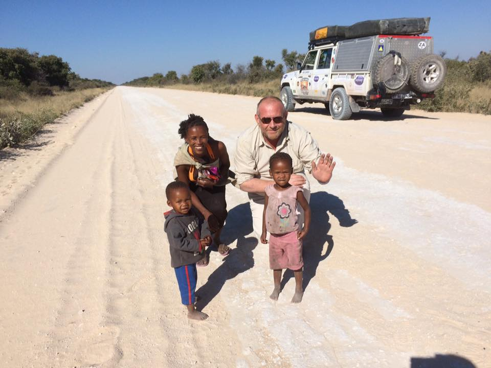 A humbling meeting whilst crossing the Kalahari Desert in Botswana during the Put Foot Rally in 2017, when we stopped to share some fresh water and fruit with this beautiful family
