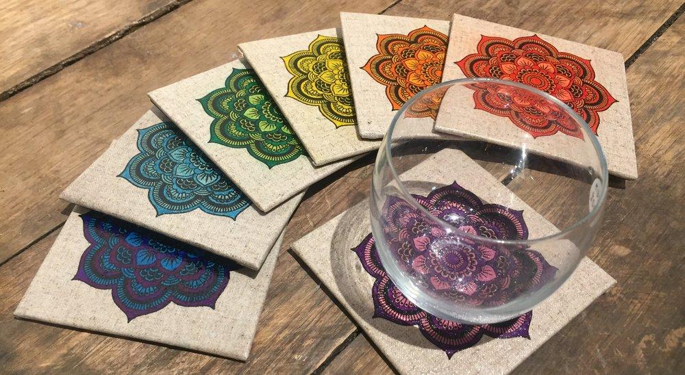 Mandala Coasters - ALL MANDALA COASTERS AREEITHER SCREENPRINTED & HANDPAINTEDOR HANDDRAWN