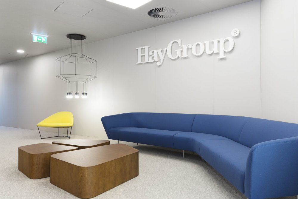 Loop sofa at the reception of Hay Group in Lisbon