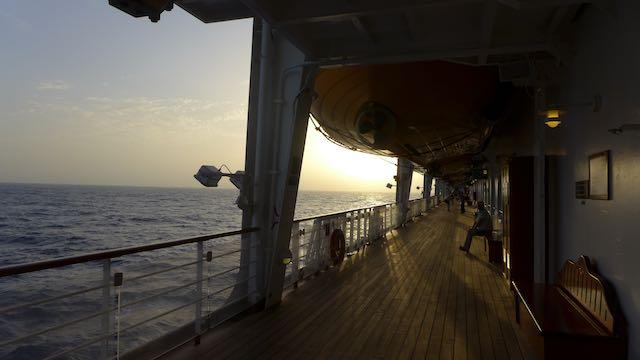 Enjoying the sunrise on the walking track on Deck 4