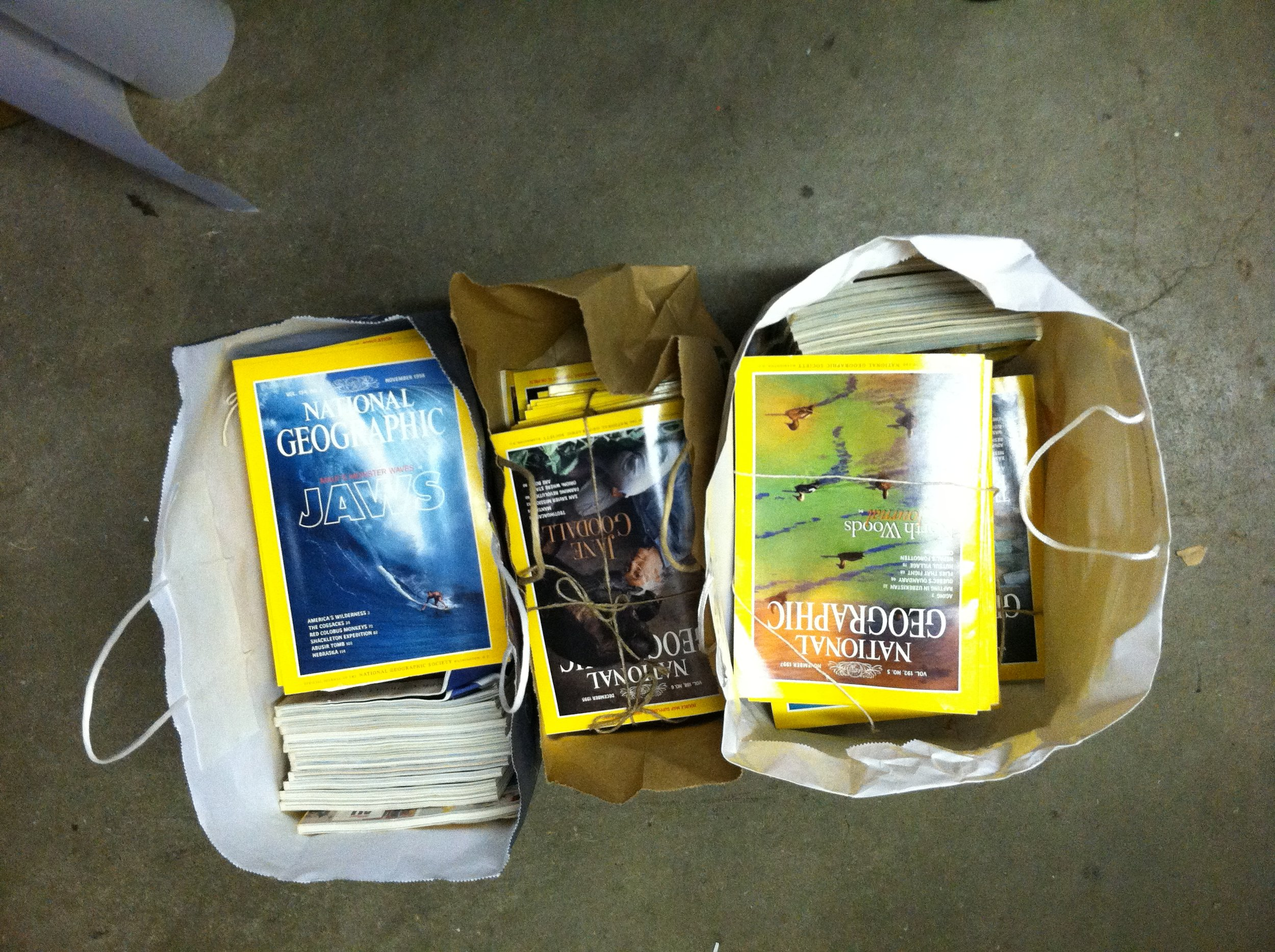 My Mother's National Geographic Magazines heading to the Scrap Box in Ann Arbor