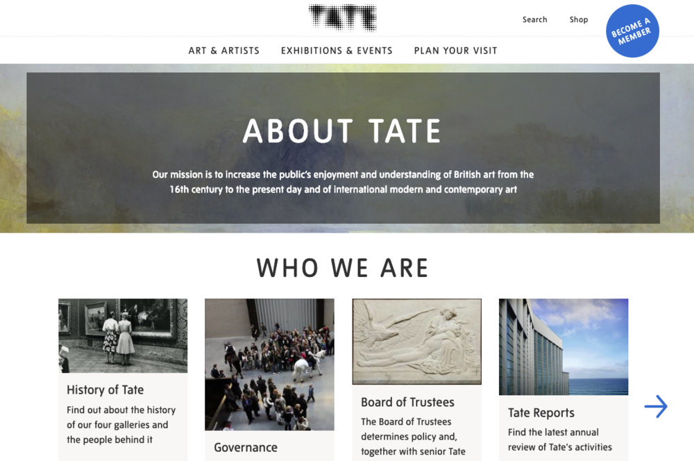 tate museum about page breakdown