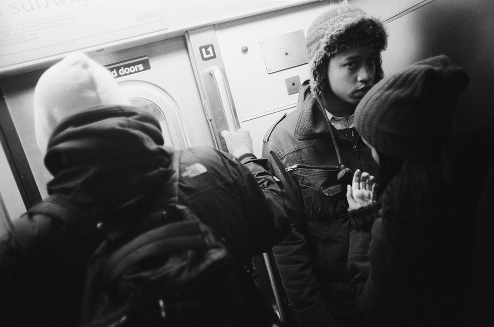 young lovers on the train, new york, 2010.