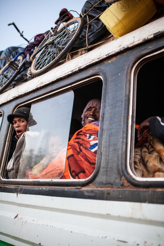 Sleep is Rare Aboard a Besalama Rasta Bus