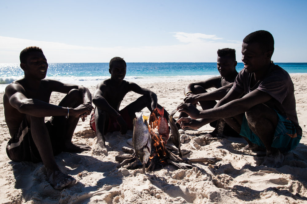 Vezo fishing crews keep stashes of firewood and water buried in the white sands of desert islands