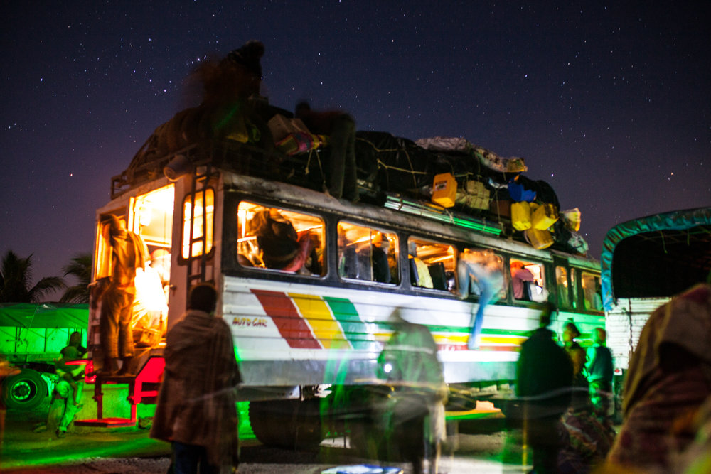 rasta bus - 120 passangers, 30 hours,2 stoned drivers &1 truck