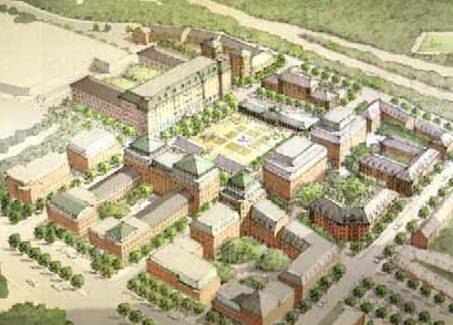 An image from a City Planning Commission work session from June 6th, 2006, showing what the new town center might look like.