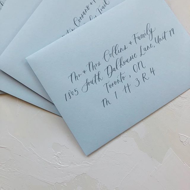 Popping back on here to say Happy Monday with these blue envelopes! 💙 . . #moderncalligraphy #calligraphy #lettering #handlettering #torontocalligrapher #stylemepretty #thatsdarling #pursuepretty #risingtidesociety #risingtideyyz #chasinglight #flashesofdelight #theknot #makersmovement #petitejoys #loveauthentic #wedding #weddingcalligrapher #weddingdetails #weddingstationery #weddingpaper #torontowedding #torontoevents #gtawedding #weddinginspiration #weddinginspo #envelopes #realwedding #envelopecalligraphy