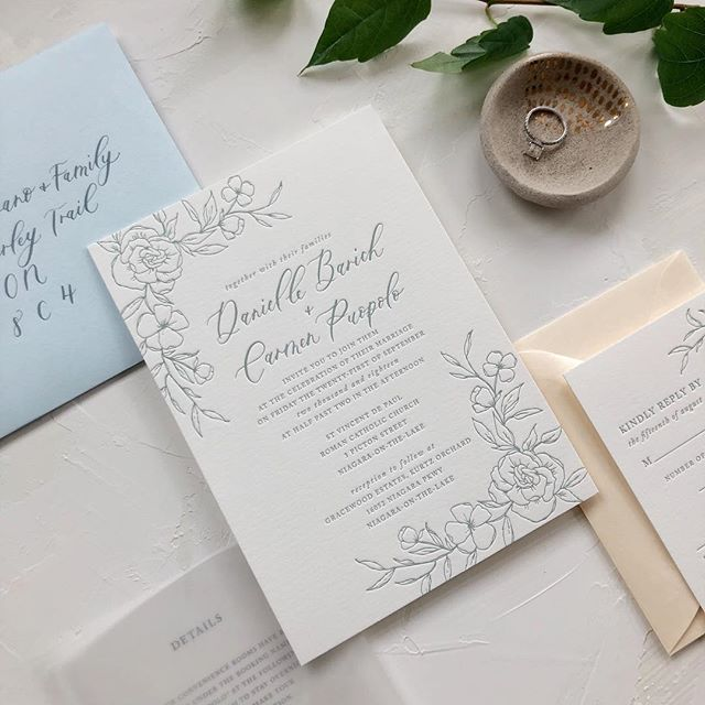 I'm back in the city after a 2 week vacation to Asia! We had a blast seeing family and eating our way through Vietnam but it's back to business as usual here. Thanks for your patience, pinky swear I'll be getting back to emails this week! 💕 . For now, here's a letter pressed floral suite designed for the lovely @thewhitebookcompany that I handed off before I left! . . #moderncalligraphy #calligraphy #lettering #handlettering #torontocalligrapher #stylemepretty #thatsdarling #pursuepretty #risingtidesociety #risingtideyyz #chasinglight #flashesofdelight #theknot #makersmovement #petitejoys #loveauthentic #wedding #weddingcalligrapher #weddingdetails #weddingstationery #weddingpaper #torontowedding #torontoevents #gtawedding #weddinginspiration #weddinginspo #weddinginvitations #letterpress #weddinginvites #realwedding
